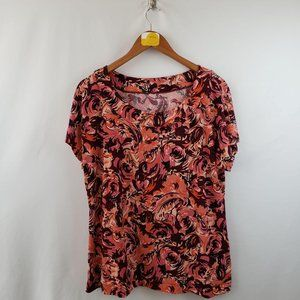 White Stag Blouse Womens Sz Large Scoop Neck Pink